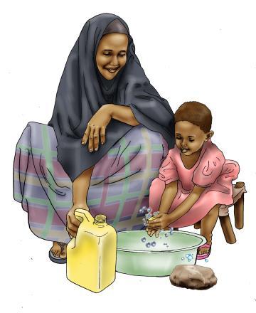 Sanitation - Mother teaches child to wash hands - 02 - Kenya Dadaab