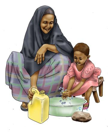 Sanitation - Mother teaches child to wash hands - 02 - Kenya Dadaab