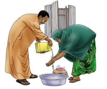 Sanitation - Woman and man washing hands - 07 - Kenya Dadaab