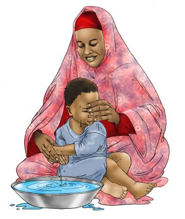 Hygiene - Mother teaches child to wash hands - 00 - Kenya Dadaab