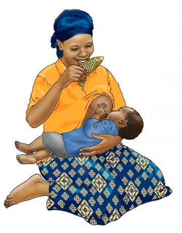Breastfeeding - Breastfeeding 9-11 mo while mother eats 9-12 mo - 01 - Nigeria