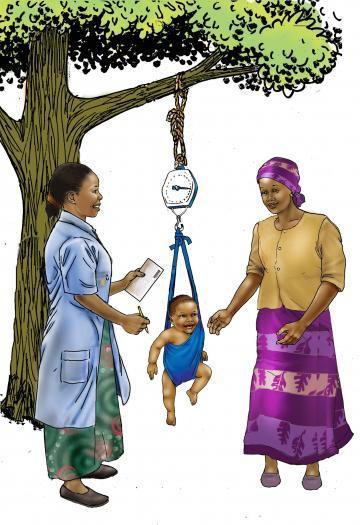 Child Health Care - Community health worker weighing baby in scale 6-9mo - 01 - Rwanda