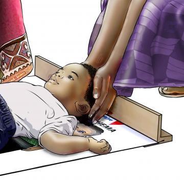 Child Health Care - Community health worker measuring baby 9-12mo - 02 - Rwanda
