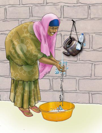 Sanitation - Woman washing hands - 06B - Niger