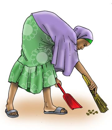 Sanitation - Woman sweeping - 02C - Nigeria