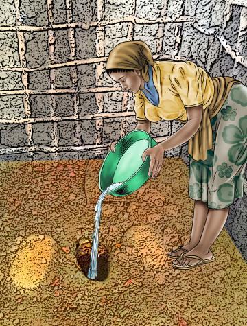Hygiene - Depositing waste in latrine - 04B - Sierra Leone
