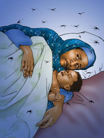 Malaria - Mother and child sleeping with mosquitos - 01 - Kenya Dadaab