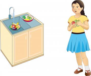 Food Practices - Girl washing fruits and vegetables  - 00 - Kyrgyz Republic