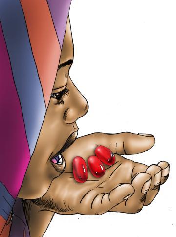 HIV/AIDS - Woman taking ARV - 01 - Kenya Dadaab