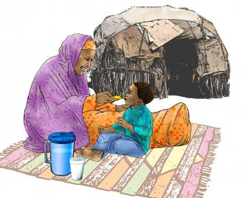 Sick baby health care - Mother feeding a child under ORS treatment - 03 - Kenya Dadaab